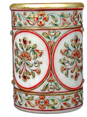 JaipurCrafts Decorative Floral - Embossed with Colorful Stones 1 Compartments Makrana Marble Pen Stand