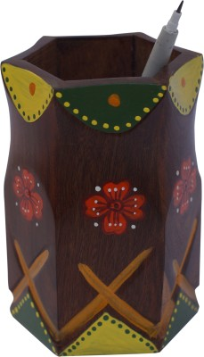 Art And Style 1 Compartments Wood Hand Painted Pen Stand