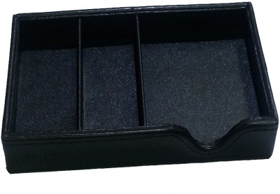 Howards Desk Organiser 3 Compartments Faux Leather Desk Organiser