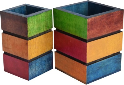 Hashcart Colorful 2 Compartments Wood Pen Holder