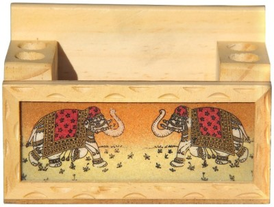 Handicrafts Paradise GSWW 1 Compartments Wooden Penholder And Mobile Holder