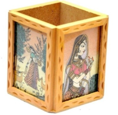 Ruchiworld 1 Compartments Wooden Pen Stand