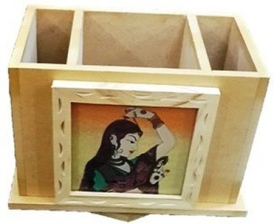 Craftmansion 3 Compartments WOODEN PEN HOLDER