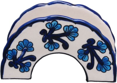 Indeasia Srijan Blue Floral 1 Compartments Stoneware Napkin holder(White)