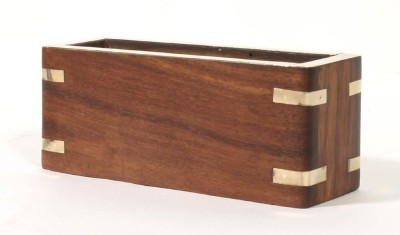 Home Sparkle 1 Compartments Wood & Brass Visiting Cards Holder