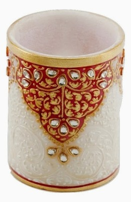 JaipurCrafts Kundan Embossed 1 Compartments Marble Pen Stand