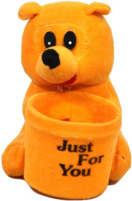 Glitz Baby GTPES001GLD 1 Compartments Soft Fur Pen Stand(Orange)