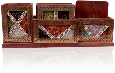 Rajwada Arts Rajasthani 3 Compartments Wooden Office Stationary Holder
