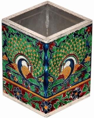 Bajya Oxidized Jaipuri Fine Meenakari Work 1 Compartments Borosilicate Glass Pen Stand