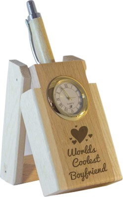Tiedribbons World Coolest Boyfriend Table Top 1 Compartments Wooden Pen Stand