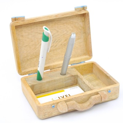 Ivei Classy 3 Compartments Wooden Pen Stand