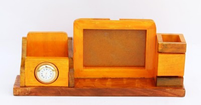CraftJunction 3 Compartments wooden Pen stand