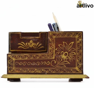 Artlivo Desk Organizer 3 Compartments Wood Desk Organizer