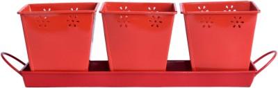 Mango Orchard 3 Compartments Metal Desk Organizer