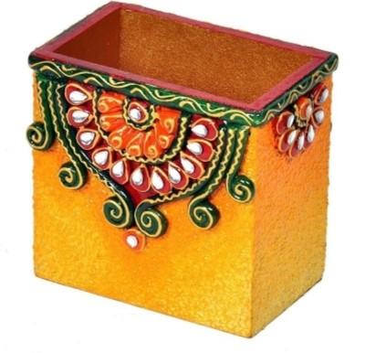 Bajya Decorative Kundan Meenakari 1 Compartments Wooden Pen Stand