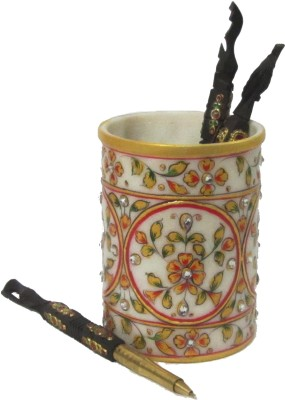 eCraftIndia Decorative Floral - Embossed with Colorful Stones 1 Compartments Makrana Marble Pen Stand