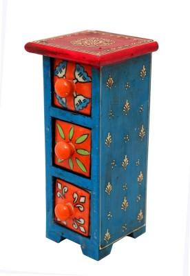 Indikala 3 Compartments Ceramic, Wooden Drawer Set