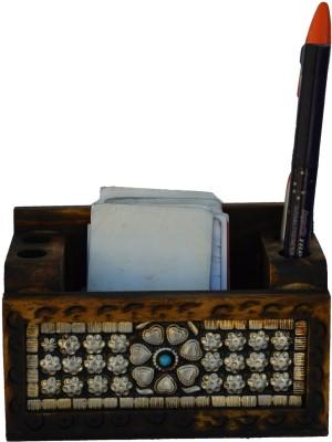 eCraftIndia ESR008 2 Compartments Wooden Pen Stand
