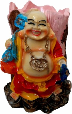 Modish Look Laughing Buddha Good Luck 1 Compartments Polyresin Pen Stand