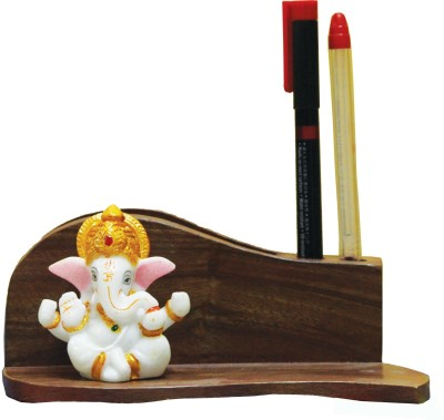 SR Crafts 2 Compartments Wooden Pen Holder