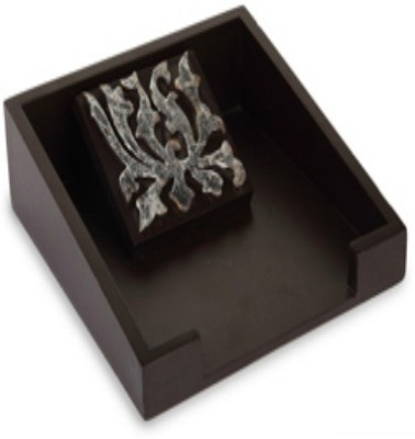 Cocktail Flower (Silver) 0 Compartments Wooden Napkin Tray