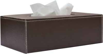 State of the Art 1 Compartments Leatherette Tissue Box Holder Contrast Stitch
