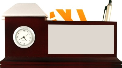 Radius In With Clock 3 Compartments Wooden Pen Stand
