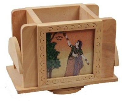 Gaura Art & Crafts 3 Compartments Wooden office table holder set