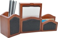 Knott 3 Compartments wood Slip Holder, Pen Holder and Card Holder Set(Brown, Black) best price on Flipkart @ Rs. 799