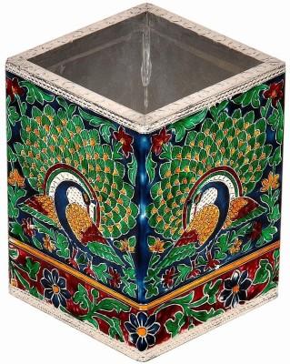 Ufc Mart Oxidized Jaipuri Fine Meenakari Work Pen Stand 1 Compartments Borosilicate Glass Burst Proof