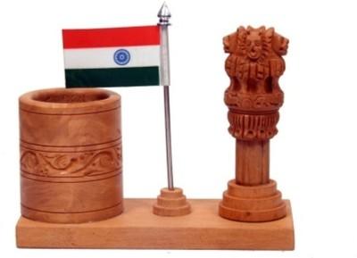 Bajya Ashoka Piller And Tiranga 1 Compartments Wooden Pen Stand