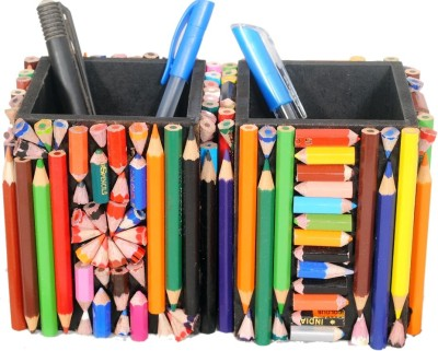 Aahum 1 Compartments Wood Pen Stand Set of 2 pcs