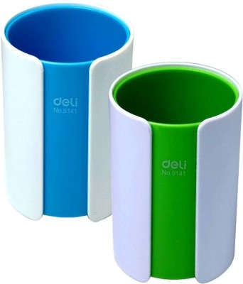 Deli 1 Compartments Plastic Colorful Pen Stand (Set Of 2)