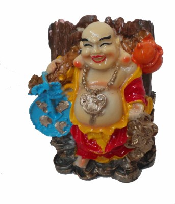 Modish Look Laughing Buddha 1 Compartments Polyresin Pen Stand