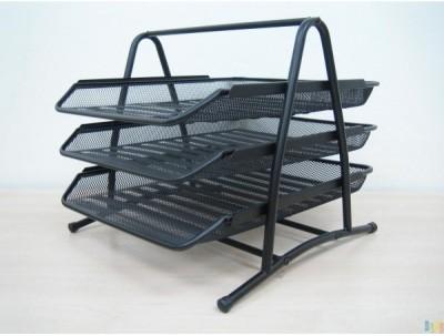 Dingguagua Magazine Tray 3 Compartments Metal Mesh Tray