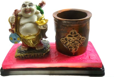 Modish Look Laughing Budha 1 Compartments Polyresin Pen Stand