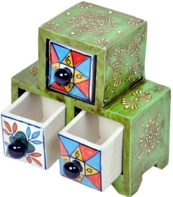 Bajya Wooden Ceramic Blue Pottery Triple Drawer Set 3 Compartments Wooden Pen Stand