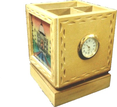 Gaura Art & Crafts 3 Compartments Wooden, Glass Watch With Pen Holder