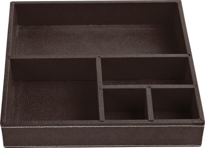 Ecoleatherette Regular 5 Compartments Leatherette Office Tray(Chocolate)