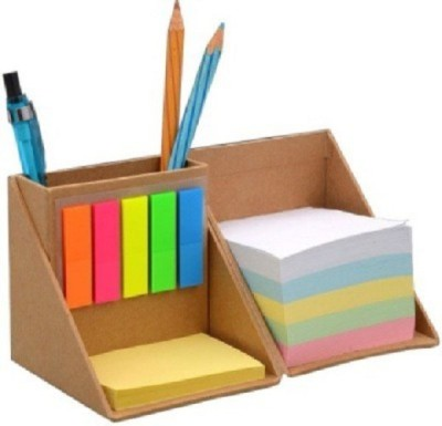 JAINONE 3 Compartments Wooden Pen Stand with Sticky Notes