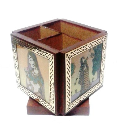 Gaura Art & Crafts 3 Compartments Wooden Pen Card Holder