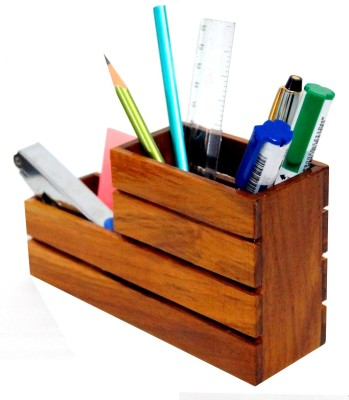 D,sign Lab 2 Compartments Wooden Desk Organizer/Pen Holder