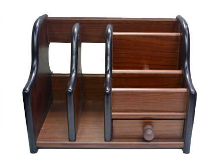 Jaycoknit Das Braun 6 Compartments Wood Pen Stand
