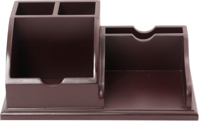 Priya Exports 5 Compartments Wood Desk Organizer
