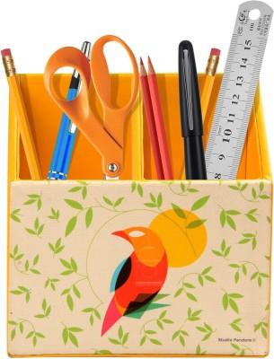 Studio Pandora Nature Series 2 Compartments PU Leather and MDF Wood Desk Organizer