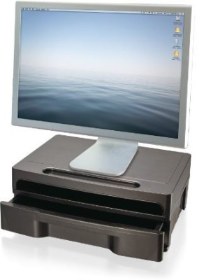 Officemate International 2 Compartments Plastic Monitor Stand::Drawer