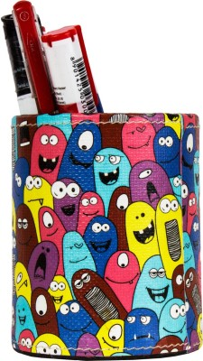 Thecrazyme Monster Pattern 1 Compartments Eco-Friendly leatherette Pen Stand