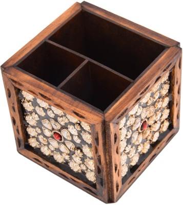 Rajkruti Etc 3 Compartments Wooden Pen Stand