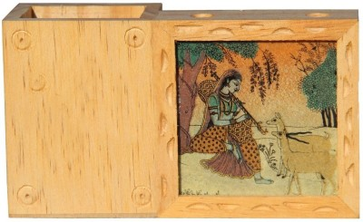 Handicrafts Paradise GSWW 1 Compartments Wooden Penholder And Card Holder
