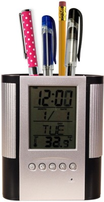 Trioflextech 1 Compartments Plastic Clock and Pen Holder